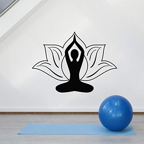 Tianpengyuanshuai Zen Blume Lotus Wandaufkleber Schlafzimmer Yoga Pose Meditation Raum Vinyl Wandtattoo Küche Dekoration 36X50cm