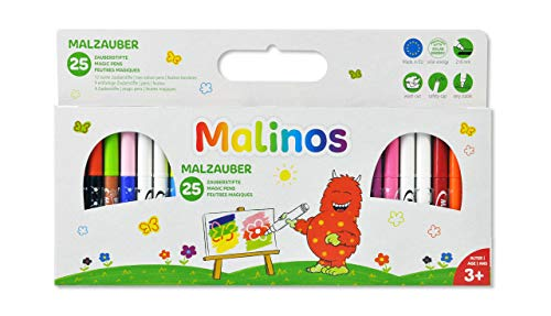 MALINOS 300029 Malzauber 25 Stifte, noch mehr Spaß im Kinderzimmer oder beim Kindergeburtstag, 25er Set Zauberstifte