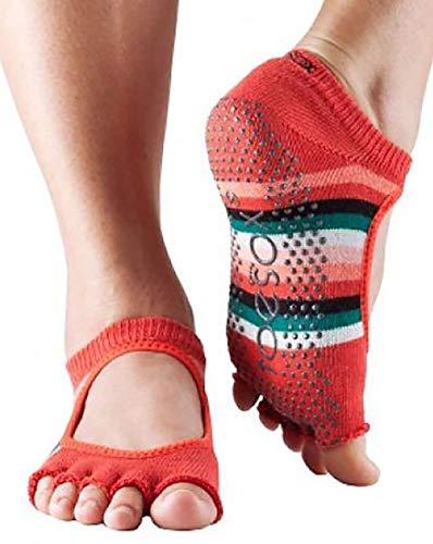 ToeSox Bella - Calcetines de yoga para mujer, algodón orgánico, 5 dedos, parte delantera abierta, color fucsia, multicolor (Fiesta), medium