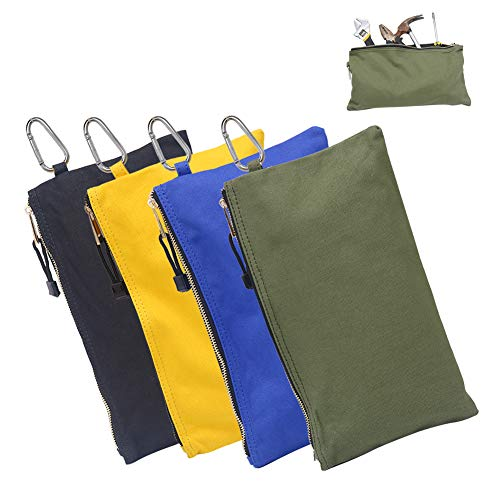 HRX Package Canvas Tool Zipper Pouches, 4pcs Heavy Duty Tool Bags Sturdy Utility Bags with Tough Metal Carabiner (11.8' x 7')