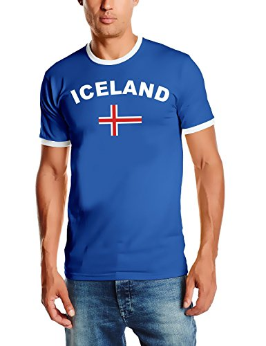 WM 2018 Iceland Fußball T-Shirt Trikot mit Deinem Namen + Nummer ! HERI Ringer Blau Gr.S