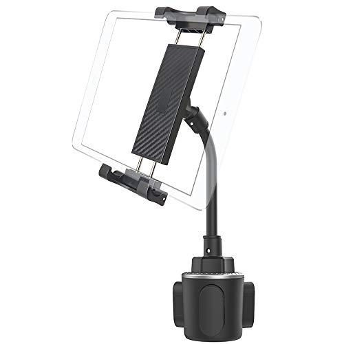 Cuxwill Supporto Auto Tablet Portabicchieri, Universale 360° Regolabile Porta Auto per iPad Pro 12.9 10.5 9.7, iPad Air Mini, Samsung Galaxy Tab, iPhone, Cellulare e altri 5,5-12,9  Tablet Smartphone