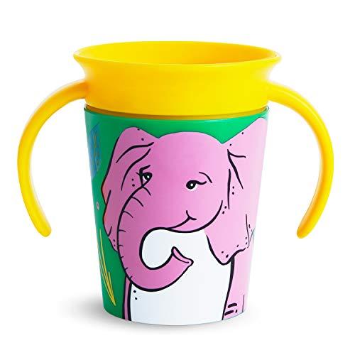 Munchkin Miracle 360° Wildlove Vaso de Entrenamiento con Asas, Set de 1, Elefante, 177 ml