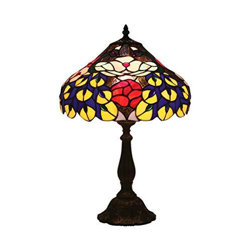 JLXW Tiffany-Art-antieke bureaulamp LED, tafellamp E27 dimbare schakelaar met gekleurd glas en aluminium basis, woonkamer lamp bedlampje voor meisjes