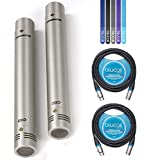 Samson C02 Condenser Microphone (Stereo Pair) Bundle with 2-Pack of Blucoil 10-FT Balanced XLR Cables, and 5-Pack of Reusable Cable Ties