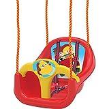 DEDE Siège de Balançoire exterieur, interieur pour bébé et enfants de 1 ans et plus, avec cordes, chargé maximum 50 kg, ROUGE