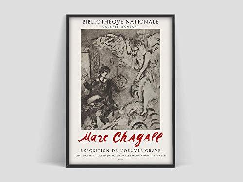 Cartel de la exposición original de Marc Chagall, Galería Mansart, Lámina, Arte moderno, Lámina surrealista, Lienzo sin marco Pintura O 60x80cm