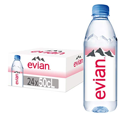 evian Natural Spring Water 500 mL/16.9 Fl Oz (Pack of 24), Naturally Filtered Spring Water in Individual-Sized Plastic Bottles