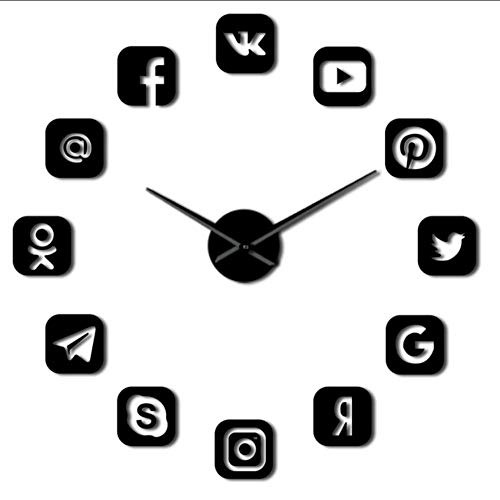 LAYYYQX Social Media Wall Clock Office College Dorm Decor 3D Frameless Icons Wall Clock Gifts for tiener