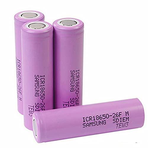 4pcs 18650 Batterie 3,7V 2600mAh Top Plat 26F Lithium ION Décharge Batterie 20A Batteries Rechargeables pour Lanterne Avant 1200 Cycles de Temps