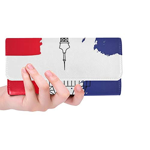 Einzigartige benutzerdefinierte französische Architektur Wahrzeichen Eiffel Frauen Trifold Wallet Lange Geldbörse Kreditkarteninhaber Fall Handtasche