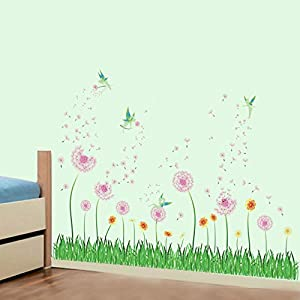 decalmile pink dandelion grass green plants wall corner decals baseboard skirting line wall stickers living room bedroom wall art decor w 51 inches
