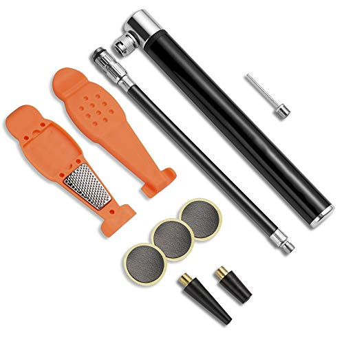 nonbrand Mini Bike Pump, Portable and Lightweight Bicycle Air Pump with Presta and Schrader Valve for Mountain Bike, Ball, Inflatable Toy - Including Puncture Tire Repair Kit