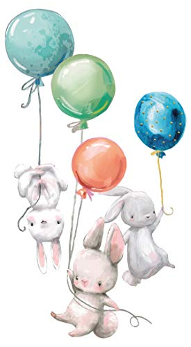 dekodino® Wandtattoo Aquarelltiere Hasen Babys mit Luftballons Kinderzimmer