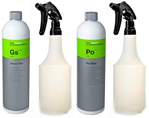 Preisvergleich Produktbild Koch Chemie Green Star und Pol Star Leder und Textilreiniger - Innenreiniger und Aussenreiniger Set mit 2 Stück Atom Sprühflasche 25001 / 92001