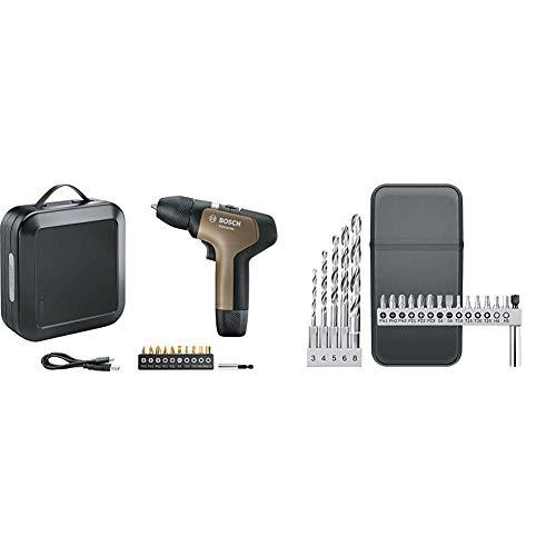 Bosch Akkuschrauber YOUseries Drill (1 Akku, in Aufbewahrungsbox) + Bosch YOUseries 20tlg. Bohrer und Bit Set (Zubehör für YOUseries Drill)