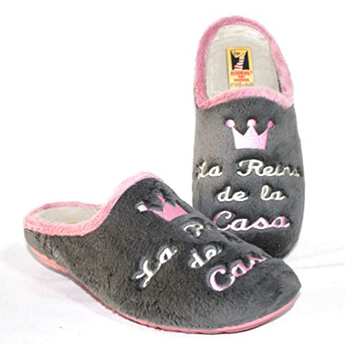 Zapatillas casa Mujer Originales cómodas y Suaves Hechas en España - Reina de la casa (Numeric_38)