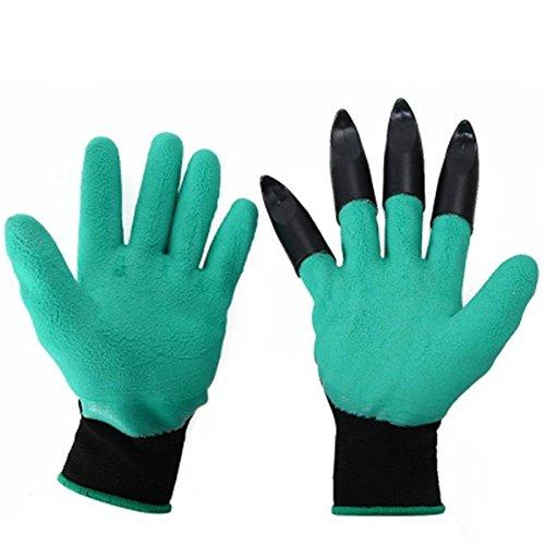 QuiCi Lot de 2 Paires de Gants de Protection pour Jardin avec 8 Griffes en Plastique ABS pour Creuser Le Limon