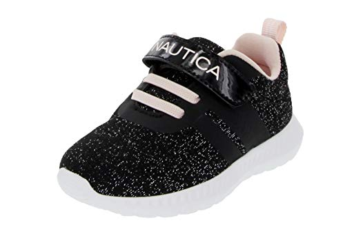 Nautica Kids Girls Fashion Sneaker Running Shoe Strap-Towhee Girls-Black Sparkle-5