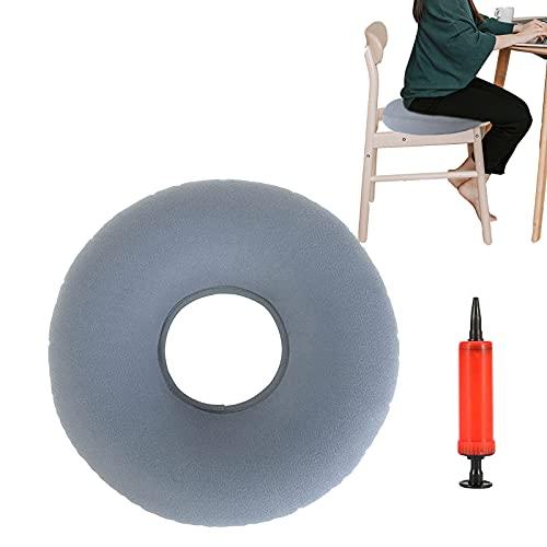 Hämorrhoiden Sitzkissen Aufblasbares Orthopädisch Dekubitus-Kissen Rund Donut-Kissen Weich Sitzring mit Pumpe für Bettwunden Hämorrhoiden Steibbeinschmerzen Rollstühle Schwangere Grau 35cm