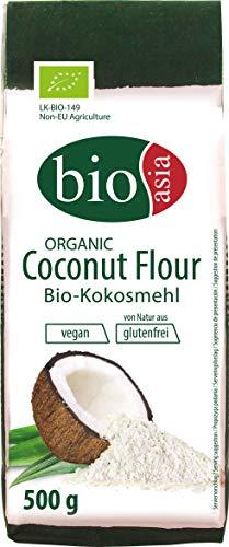 BIOASIA Bio Kokosmehl, glutenfreie Alternative zu Weizenmehl, Backzutat für Kuchen, Brot und Gebäck, vegan, Superfood für eine gesunde Ernährung, 1 x 500 g