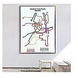 DLFALG World Marathon Majors Mapa de ruta Póster Pintura Pop Wall Art Picture Print Dormitorio Sala de estar Decoración para el hogar Regalos-42x60cm Sin marco