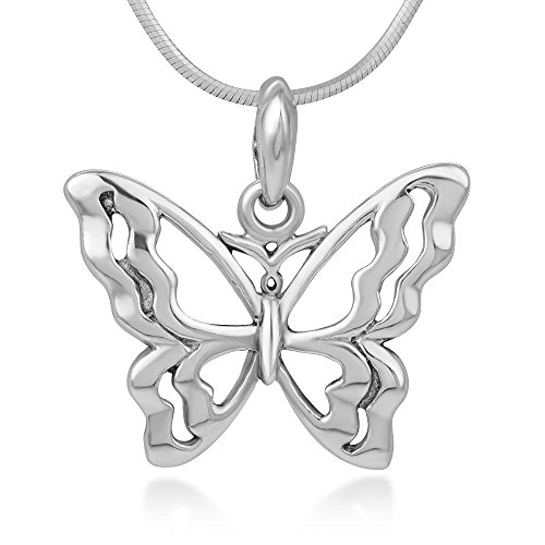 925 Sterling Silver Open Filigree Beautiful Butterfly Pendant Necklace for Women, 18 Inches Chain