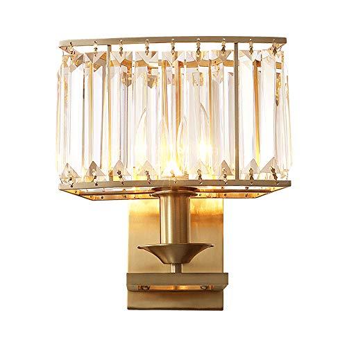 ZCCLCH Lámpara de Pared de Cristal Americano de Larga duración Iluminación de Pared de iluminación E14 Lámpara de Pared de Cobre de luz de Pared Simple Dormitorio de luz de Pared de hogar for Sala