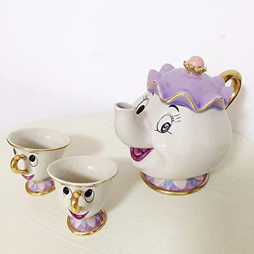 RichAmazon Tetera de tetera con diseño de dibujos animados de la belleza y la bestia de la señora Potts Chip Tea Pot Cup Set de porcelana regalo 1 tetera y 2 tazas