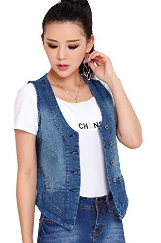 Women's Stretchy V-Neck Button Up Unlined Denim Waistcoat Vest (Small)