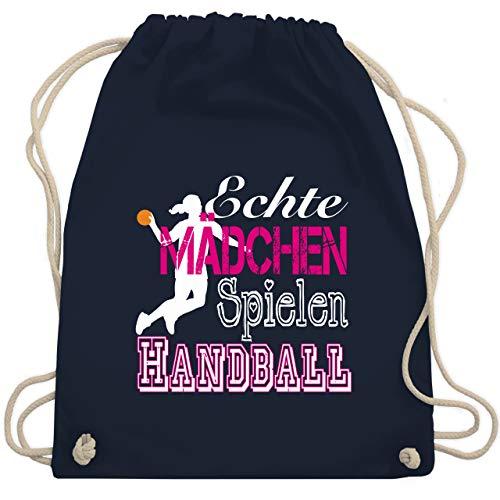 Shirtracer Handball - Echte Mädchen Spielen Handball weiß - Unisize - Navy Blau - handball kinder - WM110 - Turnbeutel und Stoffbeutel aus Baumwolle