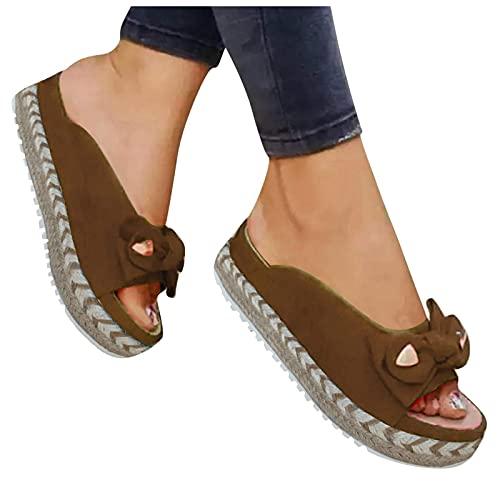 ZBYY Sandali da donna Casual Estate Open Toe Bow Platform Flip Flops Sandali Slip On Viaggio Spiaggia Sandali Romani