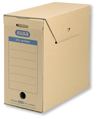 ELBA 100421091 Sammelcontainer tric system Standard 6er Pack für Ordnerfüllungen und Papiere aller Art naturbraun Archivschachtel Archivbox