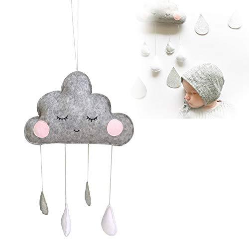 GOODGDN Nube Gota de Lluvia Colgantes Colgantes Cuarto de niños Dormitorio Pared Ventana Tinte Cunas Camas Techo Guirnalda Decoración para bebés niños niños(Gris)