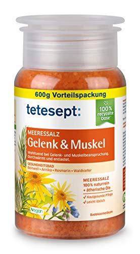 tetesept Meeressalz Badezusatz Gelenk & Muskel – Badesalz mit ätherischen Ölen zur schonenden Entlastung & Durchwärmung beanspruchter Muskel-und Gelenkpartien – 4er Pack (4 x 600 g)