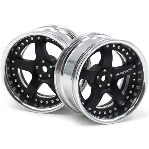 hobbysoul 2pcs RC 1/10 Aluminum Alloy Wheel Rims Hex 12mm Adjustable Offset Fit 1:10 RC On Road Drift Touring Car Tires
