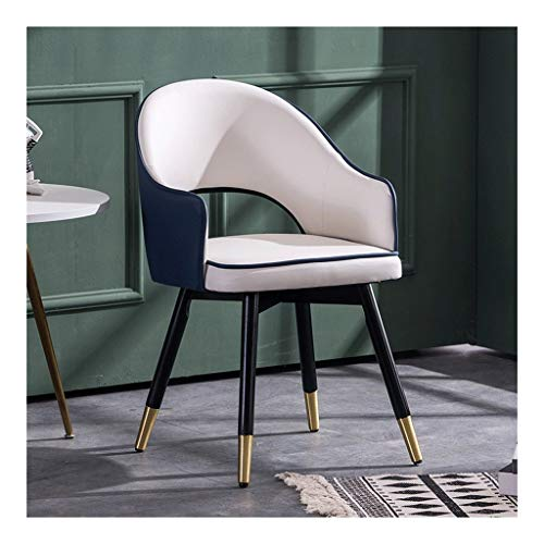 CHQYY Stühle- Essplatzstühle-Büroraum, Wohnzimmer, Küchenstuhl mit Holzbeinen, im Restaurant zu Essen Stuhl mit Armlehnen und Rücken Stuhl (Farbe : Blue)