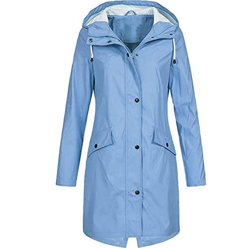 XOXSION Chubasquero para mujer, monocolor, para exterior, de gran tamaño, con capucha, resistente al viento, impermeable, resistente al sol, transpirable, chaqueta softshell B azul XXL