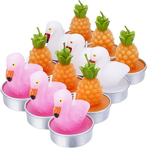 12 Stück Flamingo-Teelichter, handgefertigt, zarte Ananas-Flamingos-Kerzen für Party, Hochzeit, Spa, Heimdekoration, Geschenke (Stil G)
