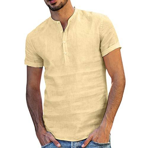 serliy Männer Leinen Henley Hemden Lässig Standard Fit Kurzarm Basic Sommer Strand Henley Hemden Yoga Top Bluse Tee