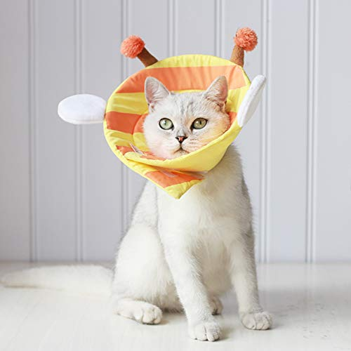 YAVO-EU Tier Kragen Schutzkragen Postoperative Halskrause für Katzen Hunde, Einstellbar Soft Edge Circle Pet Cone Pet Schutzhalsband (M)