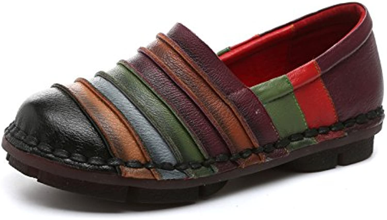 Qiusa Regenbogen Schuhe für Frauen Bunte Leder Flache Bequeme Slip auf Loafers (Farbe   Schwarz, Größe   EU 42)