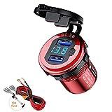 Thlevel QC3.0 Caricabatteria Auto USB Dual Porte, 12V / 24V 36W Presa USB per Auto Doppio USB Impermeabile con Pulsante di Accensione e LED Indicazione per Auto, Moto, Barche (Rosso)