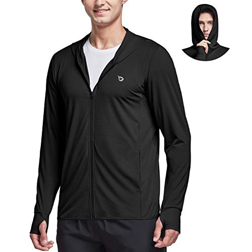 BALEAF Men's Long Sleeve Sun Shirts Hiking Fishing SPF UPF 50+ UV Protection Hoodie Lightweight Quick Dry Cooling Outdoor Zip Up Black XL