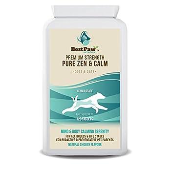 TRANQUILITÉ ZENFUL DE NATURE: Les comprimés Pure Zen & Calming pour chiens de Best Paw Nutrition contiennent un mélange synergique d'acides aminés et d'extraits de plantes médicinales dans un comprimé pour un soutien holistique du stress et de l'anxi...