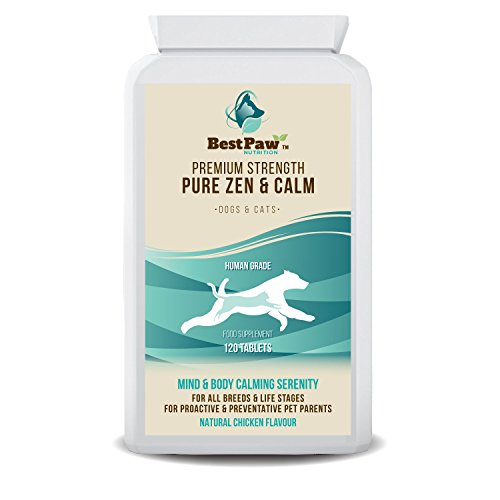 Best Paw Nutrition - Pastillas calmantes para Perros 120 Pastillas relajantes de acción rápida y Alivio de la ansiedad para Perros ansiosos - Calming Tablets For Dogs