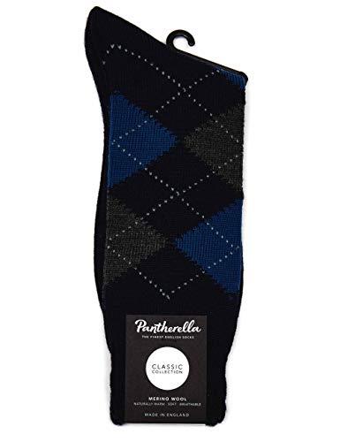 Pantherella Racton Argyle Merino Wool Socks - Navy/Grey Large NAVY/GREY