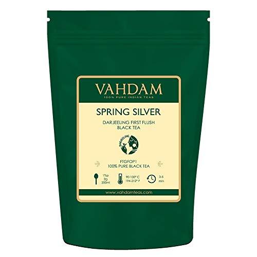 VAHDAM, 2019 Spring Silver First Flush Darjeeling Tè (50 tazze) - Fiorito, aromatico e delizioso - Selezionato, confezionato e spedito direttamente dall'India, Darjeeling Tè First Flush, 100g