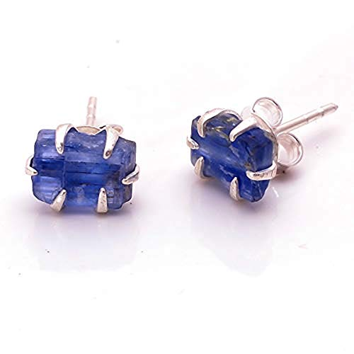 925 Sterling Silver Prong Stud Earrings, Natural Raw Gemstone Handcrafted Women Jewelry RSSE (Kyanite)
