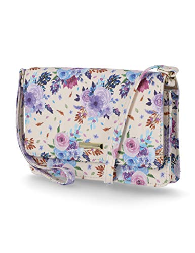 Mundi Kimberly Crossbody Wallets for Women Wallet Purse Phone Bag Vegan Leather Wallet on a String (Floral)